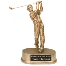 "8 3/4"" Antique Gold Male Golf Resin"